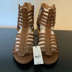 New York & Company Brown Strappy Heel